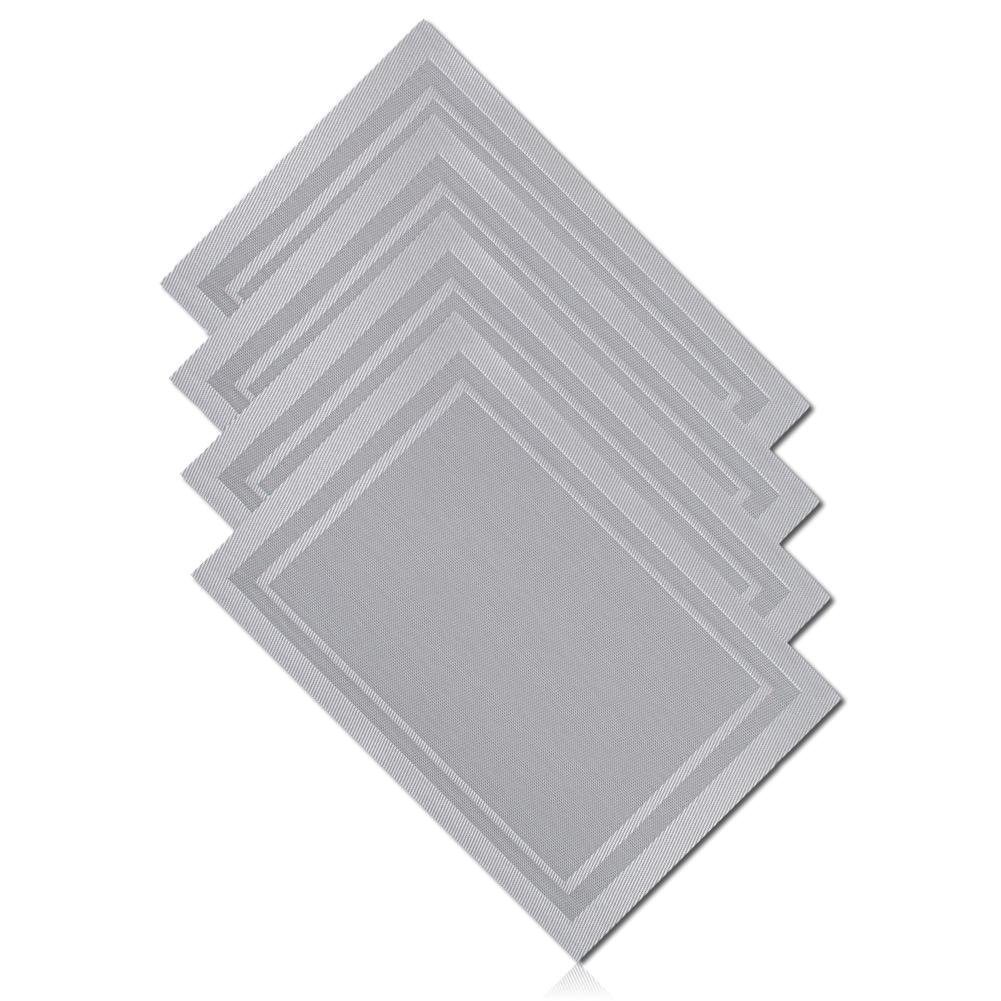 """Unique & Custom {13'' x 19'' Inch} Set Pack Of 4 Rectangle """"Non-Slip Grip Texture"""" Large Reversible Table Placemat Made of Washable Flexible Polyurethane w/ Shiny Metallic Solid Steel Design [Grey]"""