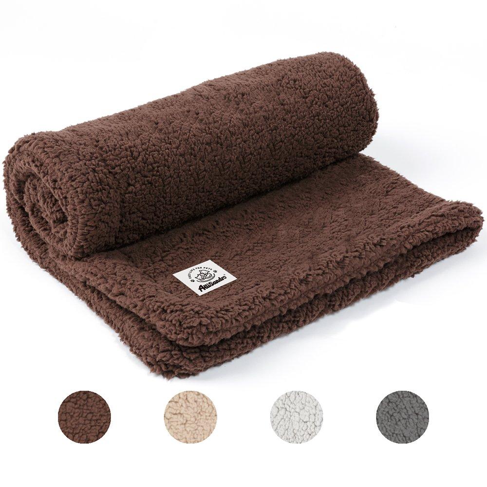 Allisandro Pet Premium Double Layer Throw Blanket – for Dog Cat Puppy Kitten – Shu Velveteen – Super Soft Flannel