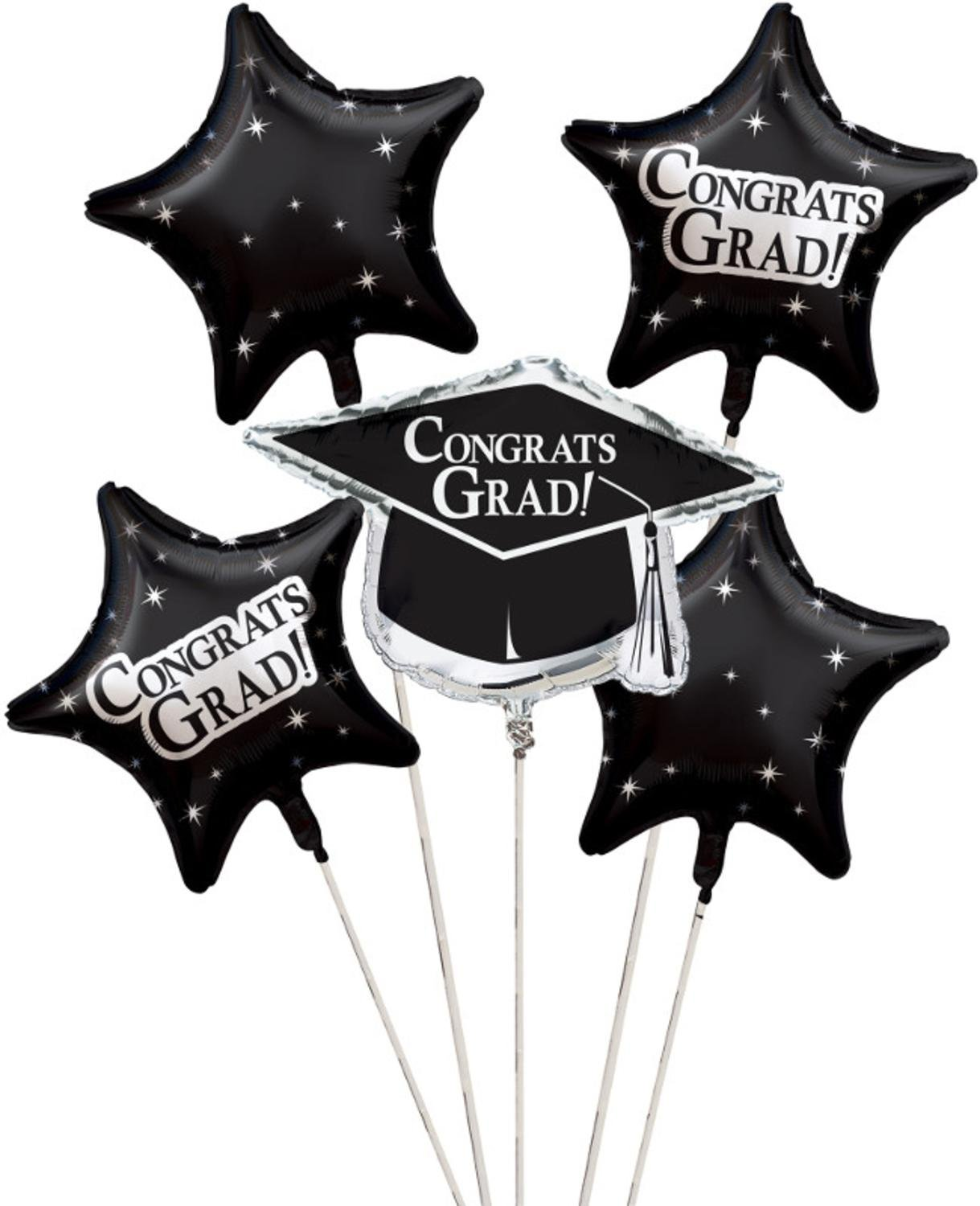 Club Pack of 12 Black Metallic Foil ''Congrats Grad'' Graduation Day Party Balloon Clusters