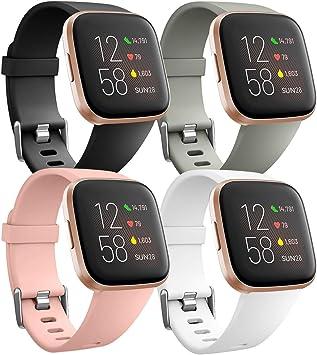 Ouwegaga Banda de Repuesto de Silicona Compatible con Fitbit Versa Correa/Fitbit Versa Lite Correa/Fitbit Versa 2 Correa, Pequeño Negro/Gris/Rosa/Blanco: Amazon.es: Electrónica