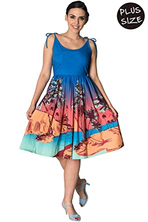 e74cf7154e4 Banned Tropical Plus Size Vintage Retro Sundress Blue at Amazon ...