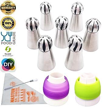 Aixin - Puntas de acero inoxidable para tubos de glaseado (tamaño grande, punta de bola rusa + 1 cepillo + 10 bolsas de repostería + 2 boquillas de ...