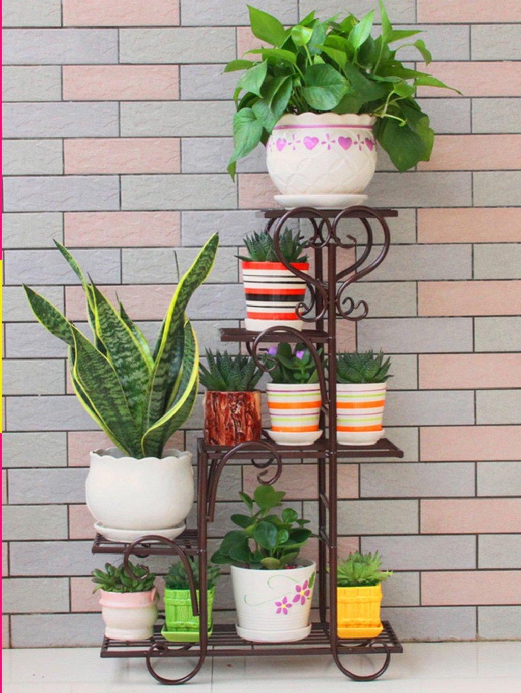 &Macetero Soporte de flores Estantes de hierro Estante de la sala de estar del balcón interior Estante de flores pequeño trapezoidal Macetas decorativas ( Color : A ) LYM