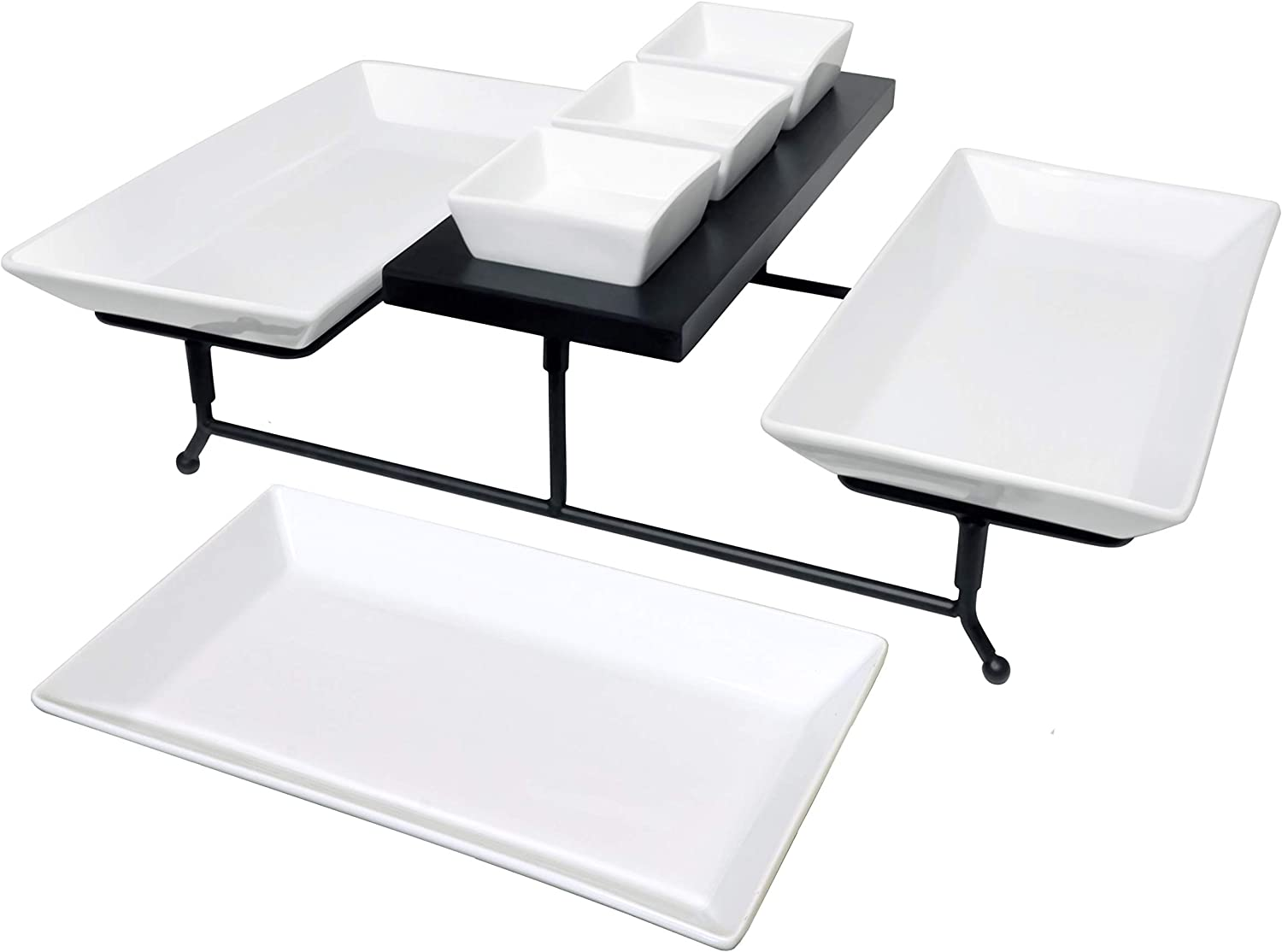 The Most Versatile 3 Tier Serving Tray. Collapsible metal stand with 3 large plates and 3 bowls on black wood base. Tiered party food server display for appetizers, cupcakes, fruit, cheese, desserts.