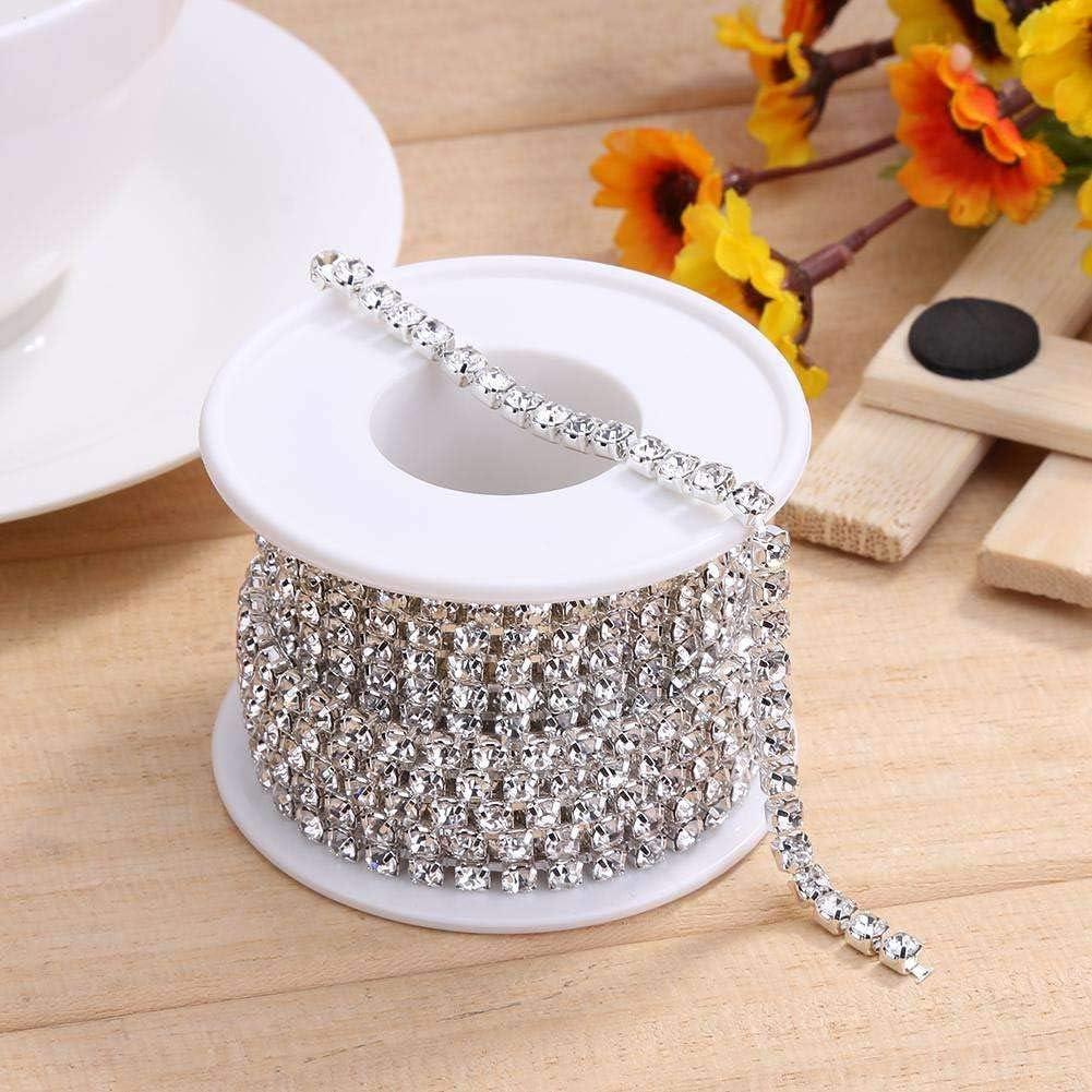 1 Roll 10 Yards Rhinestone Trim Crystal Cup Chain in Silver Setting Casing Clear (SS6 2mm) 71OJQQ-MO1L