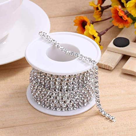 1 Roll 10 Yards Crystal Rhinestone Trim Close Cup Clear Chain with Gold Setting Base SS6 2mm