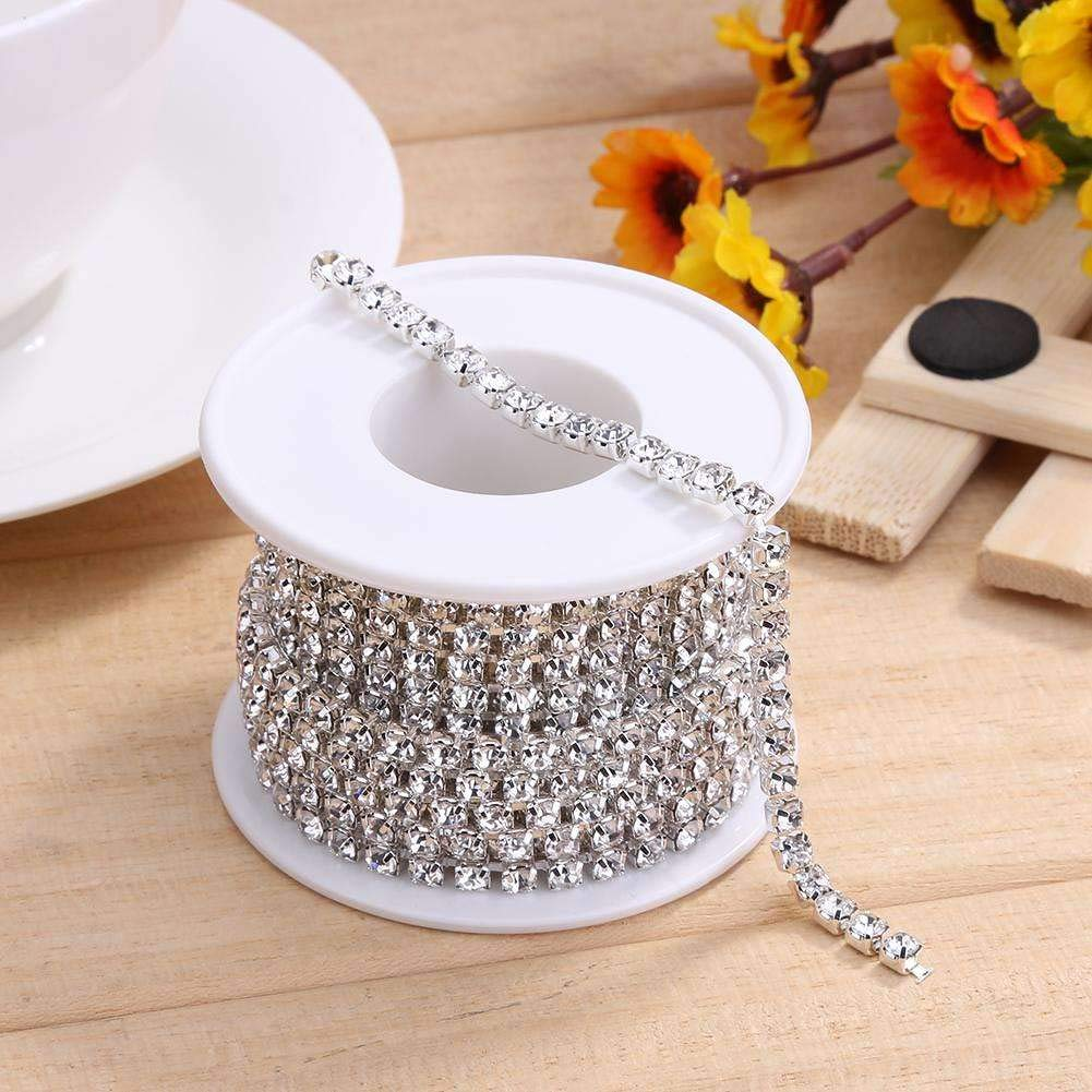 1 Roll 10 Yards Rhinestone Trim Crystal Cup Chain bei Silver Setting Casing Clear (Ss10 2.8Mm)