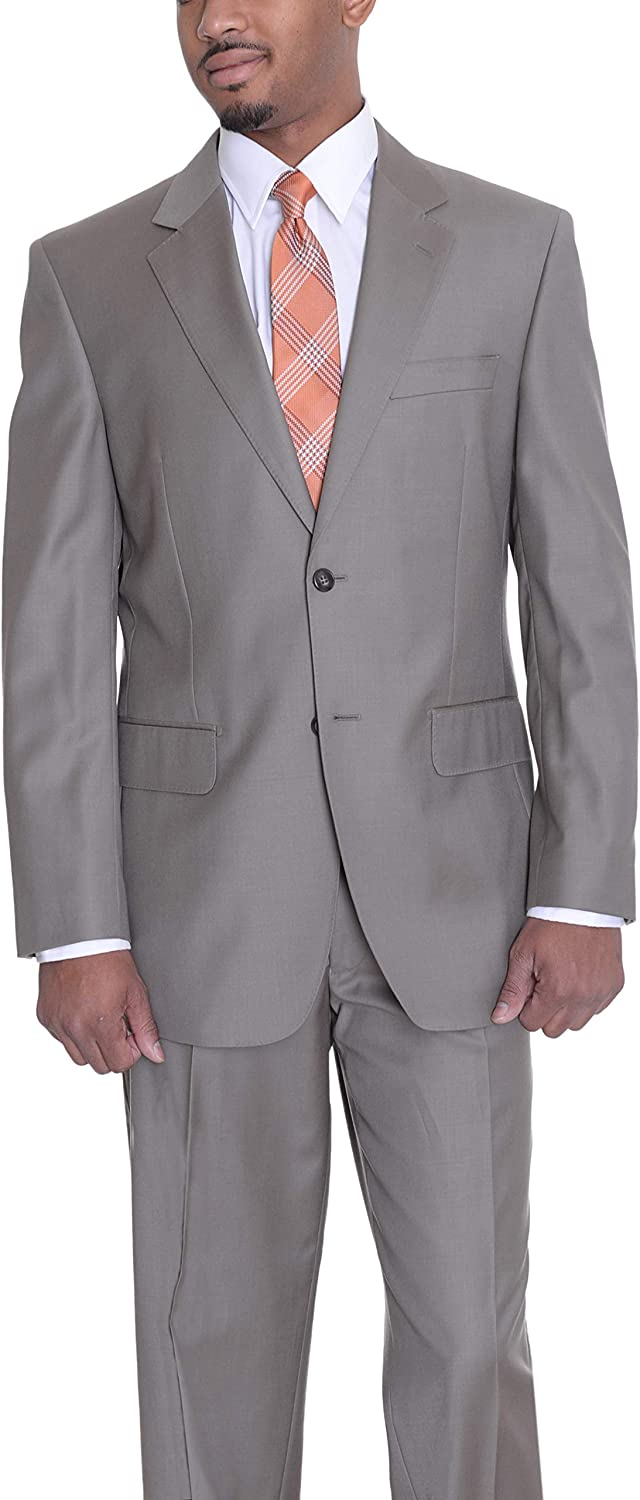 Beltrami Classic Fit Solid Taupe Two Button Super 120s Wool Suit Made in Italy