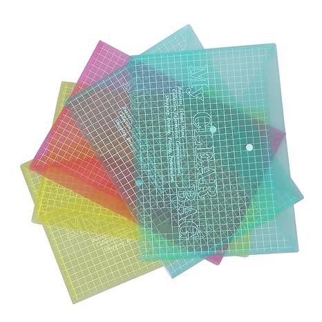 SODIAL(R) 5 X Carpetas Bolsa de Plastico para Archivos Documentos A4 Multi Color