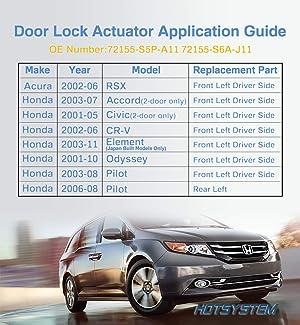 HOTSYSTEM Door Lock Actuator for Honda Left LH Driver Side 72155-S5P-A11 (Tamaño: Front Left)