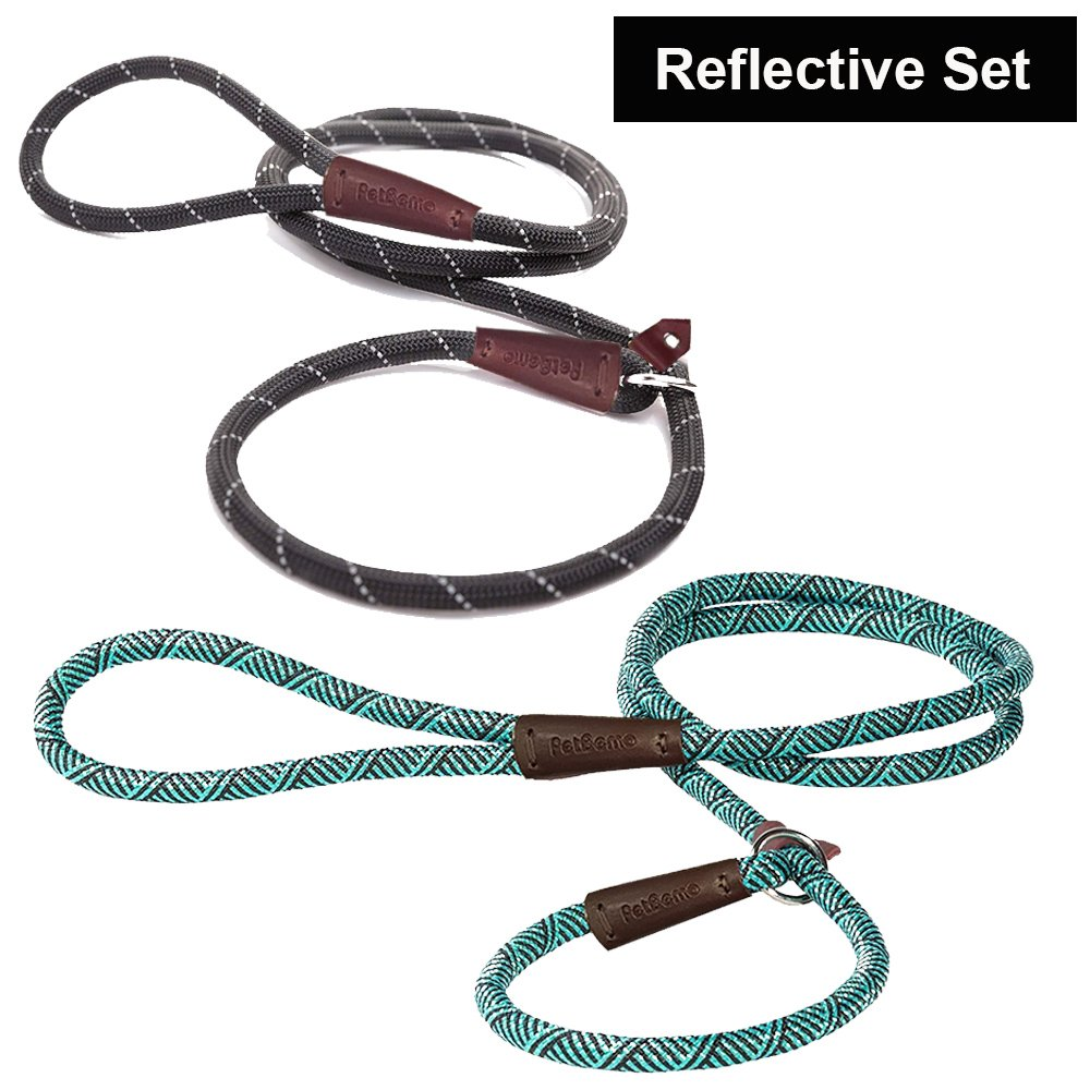 Reflective Slip Rope Leash - Petbemo Retractable Dog Leash 6 FT Heavy Duty Training Leash for Large and Medium Pet Mountain Climbing Dog Rope for Safety Night Walking, Black, Blue, 2 Pack
