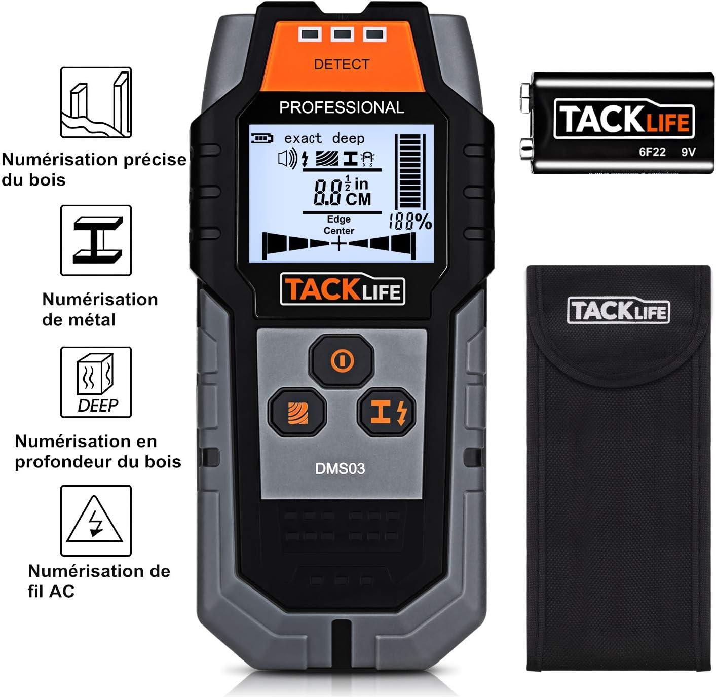Tacklife DMS03 - Detector de construcción 3 en 1 de metal ...