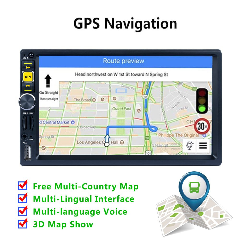 AUX,Support Android and iOS System Phone Mirror Link Function Jarwee USB SD Car Stereo Radio Double Din Navigation 7 Inch Touchscreen with WiFi and Free Backup Camera Support GPS Fastboot