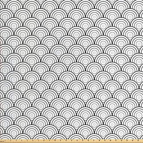 Woven Polyester 108' Round Tablecloth - Ambesonne Geometric Fabric by the Yard, Oriental Ancient Moroccan Like Rounds Circles Sea Wave Inspired Art Print, Decorative Fabric for Upholstery and Home Accents, Black and White