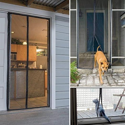 Moustique Blanc 180x210cm Personnalisable WISLKEO Moustiquaire Porte Magn/éTique Portes-Fen/êTres,Patios Enroulable Animaux Accept/éS