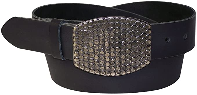 Fronhofer Ceinture noire basique et bon marché noire en cuir de vachette  véritable avec une grande 3600e06fb49
