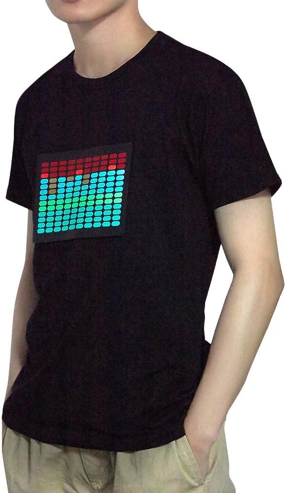 Cikuso Camiseta Led Activido de Sonido para Hombre Ecualizador de Disco Iluminar Brillante Camiseta Led de Manga Corta L: Amazon.es: Ropa y accesorios