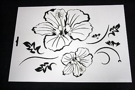 Forma per stencil, per tessuto a parete, soggetto: fiore, A4, W ...