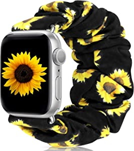 Scrunchie Watch Band Compatible with Apple Watch Band 38mm 40mm 42mm 44mm Apple Watch Series 5 Band Soft Replacement Elastic Wristband Compatible for iWatch Series 5 4 3 2 1 (Sunflower 42mm 44mm M)