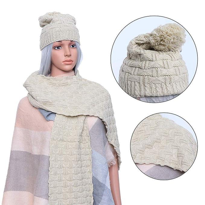599d48984918 LEORX - Femme - Ensemble d hiver en tricot écharpe et bonnet  Amazon ...