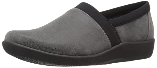 Clarks Women's CloudSteppers Sillian Blair Slip-On Loafer, Grey Synthetic  Nubuck, ...