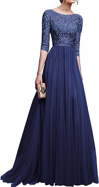 Blansdi Damen Spitze Kleid Tull Lang Abendkleid Rundhals Mit Armeln Zuruck Hohl Kleid Ballkleid Elegant Cocktailkleid Brautjungfernkleid Festkleid Hochzeitskleid Amazon De Bekleidung