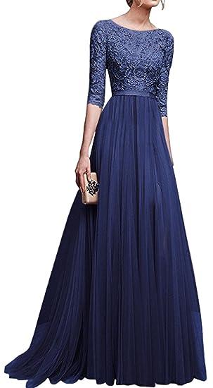 Blansdi Damen Spitze Kleid Tüll Lang Abendkleid Rundhals Mit Ärmeln Zurück Hohl Kleid Ballkleid Elegant Cocktailkleid Brautjungfernkleid Festkleid