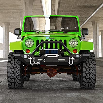 amazon jeep wrangler jk rock crawler front bumper with 4x led Best Bumper for Jeep Jk jeep wrangler jk rock crawler front bumper with 4x led lights winch plate black textured