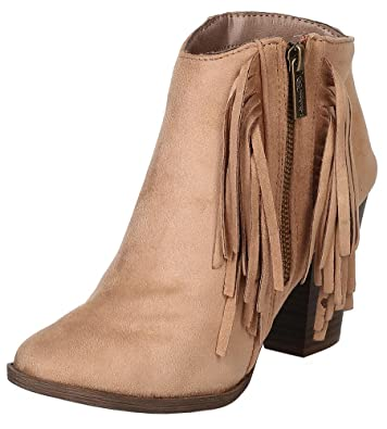 Women's Fringe Western Closed Toe Chunky Stacked Heel Ankle Bootie