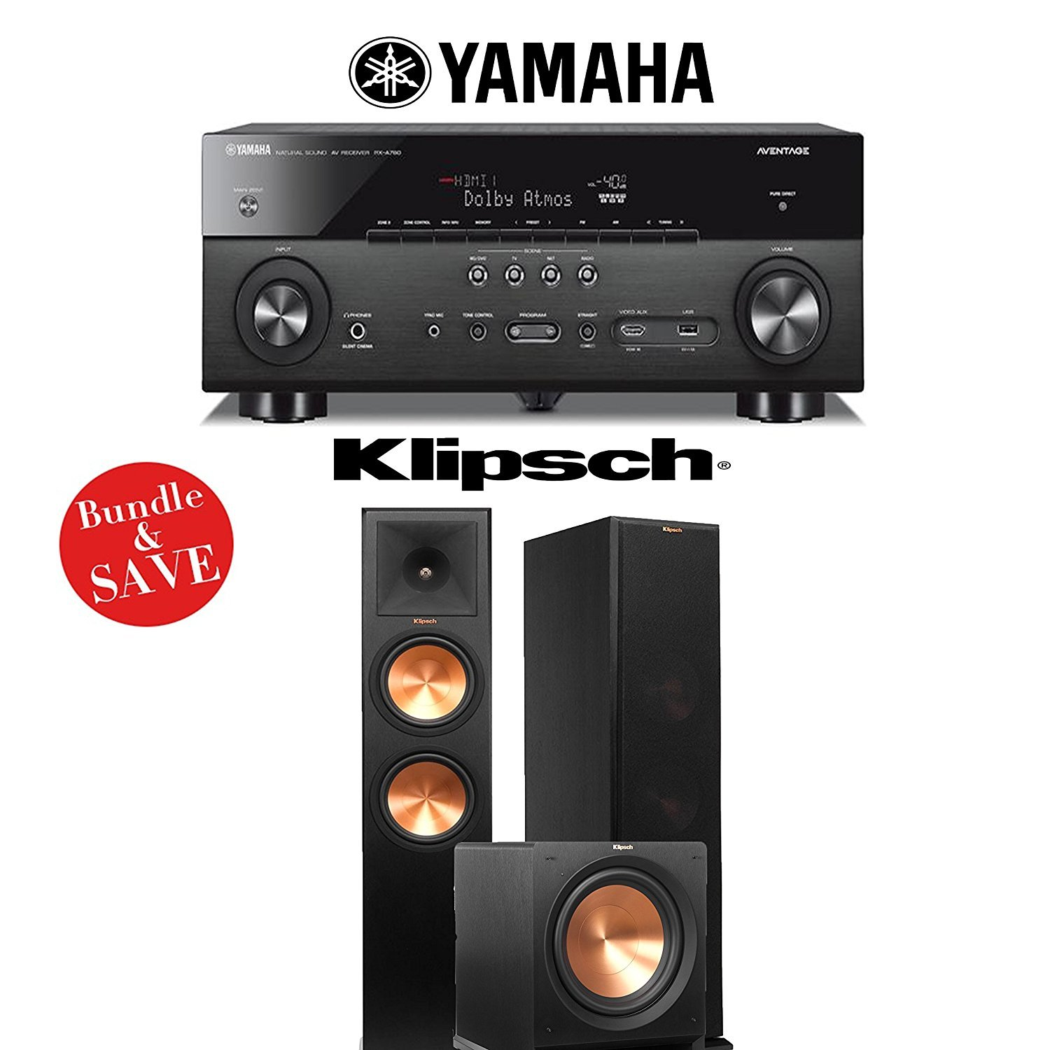 Yamaha AVENTAGE RX-A760BL 7.2-Channel Network A/V Receiver + Klipsch RP-280F + Klipsch R-112SW - 2.1 Reference Premiere Home Theater Package by Klipsch