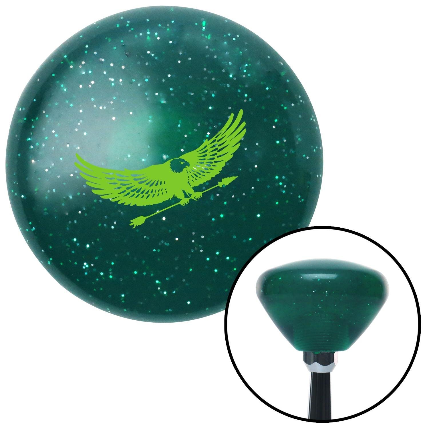 Green Eagle with Arrow American Shifter 207514 Green Retro Metal Flake Shift Knob with M16 x 1.5 Insert
