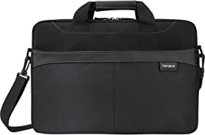 Targus Professional Business Casual Slipcase, Laptop Shoulder Bag for Macbook/Notebook with Quick-Access Compartment, Trolley Strap, Protective Sleeve Shoulder Strap for 15.6-Inch Laptop, Black (TSS898)