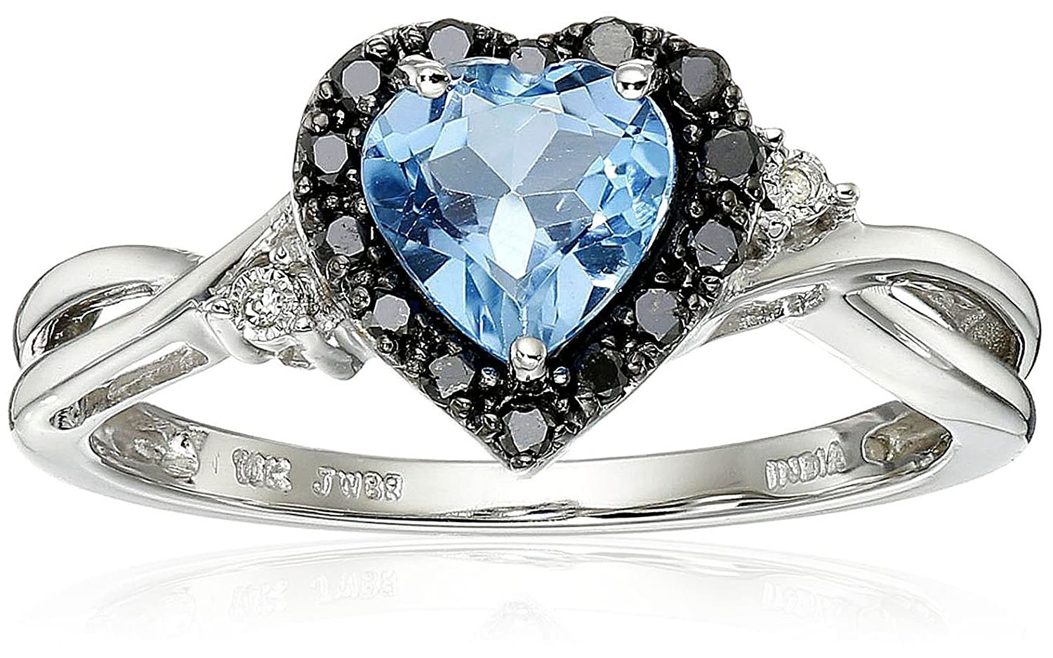 Beau Amazon.com: 10K White Gold Blue Topaz Heart With Black And White Diamond  Ring, Size 6: Jewelry