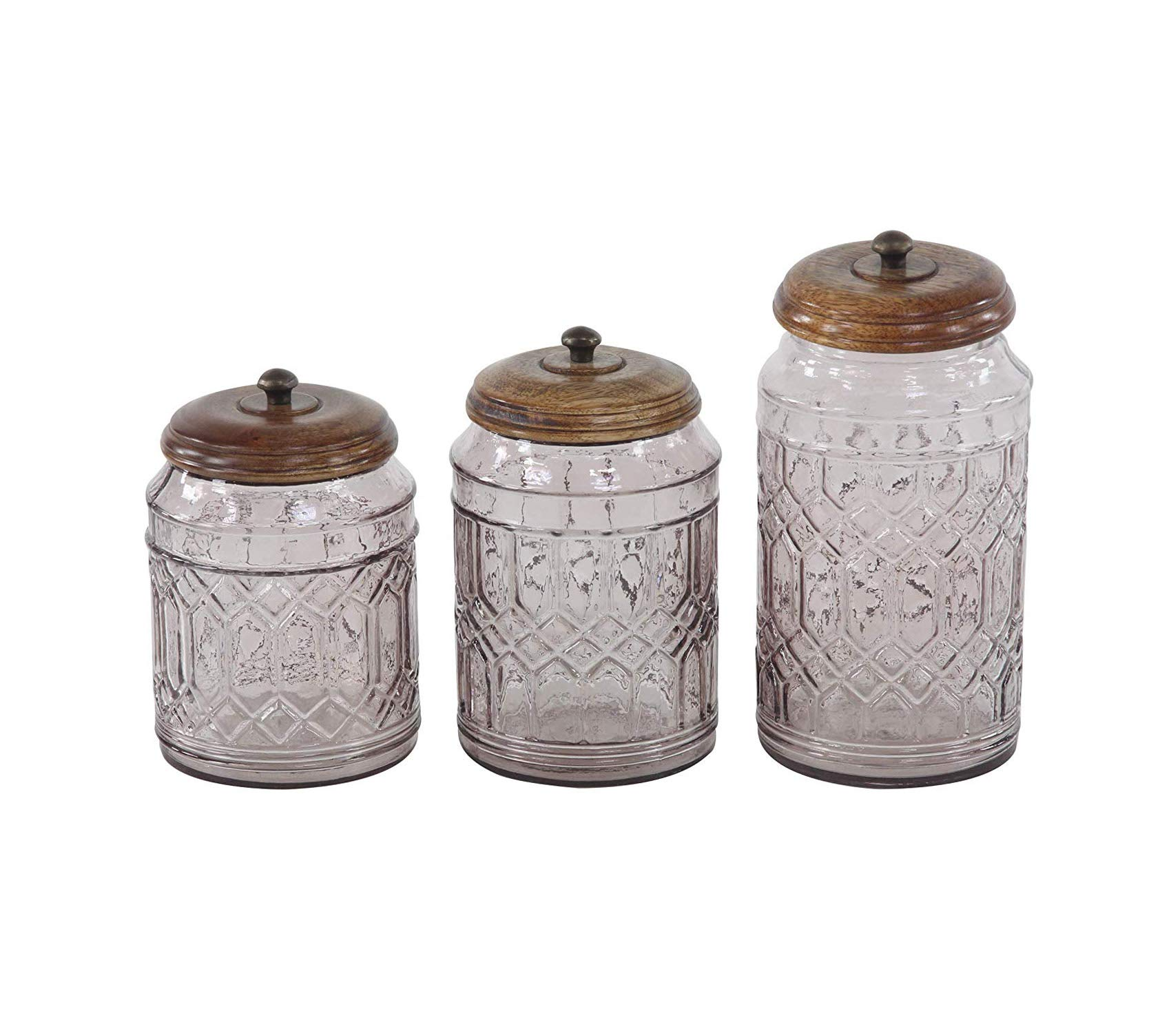 Dеcо 79 Premium Farmhouse Glass Wood and Metal Canisters 5'' W x 11'' H Brown Clear Storage