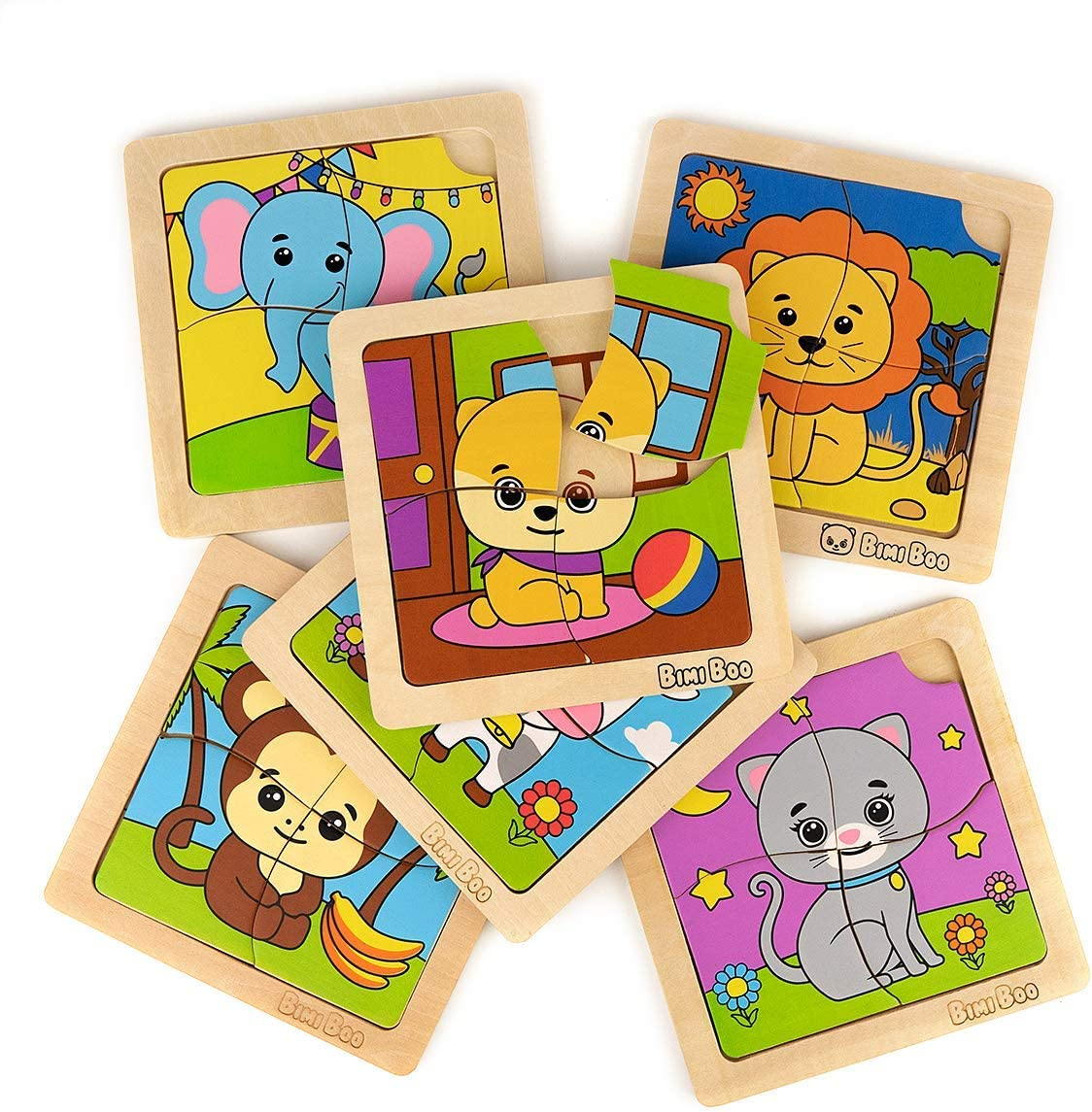 Bimi Boo Animal Wooden Jigsaw Puzzle for Preschool Kids 2 Years Old and Up (Set of 6 Learning 4 Pieces Toddler Puzzles, Solid Wood Construction)