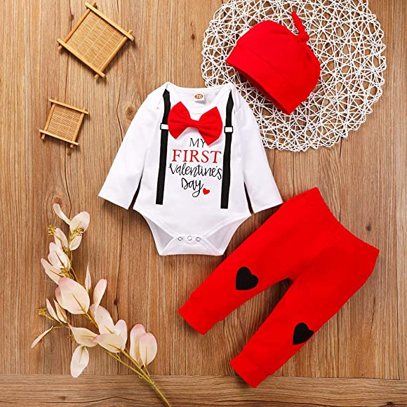 UK 1st Valentine/'s Day Newborn Baby Boy Girl Long Sleeve Romper+Trousers Clothes