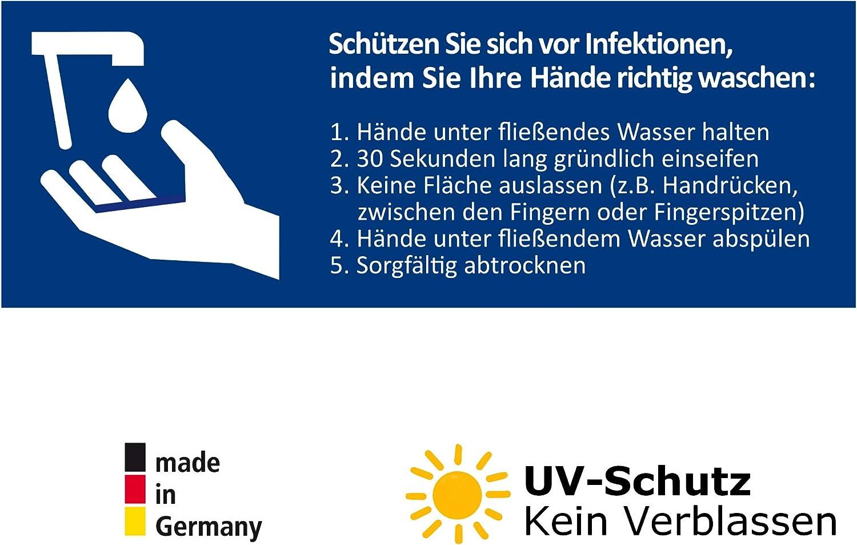 5 Aufkleber Bitte regelm/ä/ßig H/ände desinfizieren Hinweis Schild zur H/ändedesinfektion und Handhygiene DIN A6 10,5 x 14,8 cm H/ändedesinfektion