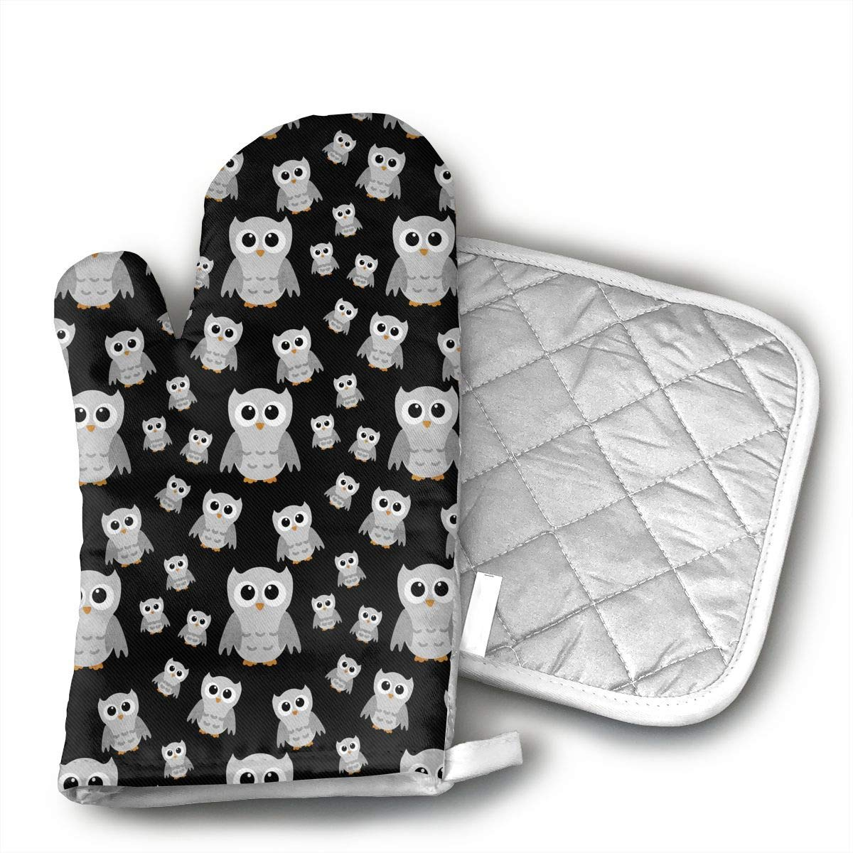 FSDGHVFIJTT ujd Grey Owl Neoprene Oven Mitts and Potholder Set-Heat Resistant Oven Gloves to Protect Hands and Surfaces with Non-Slip Grip, Hanging Loop-Ideal for Handling Hot Cookware Items