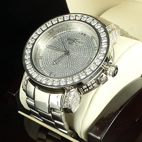 Kronos Diamond Reloj íntegramente en acero inoxidable acabado en plata cromado nuevo y elegante: Amazon.es: Relojes