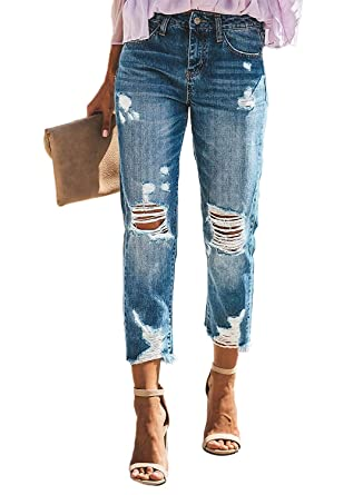 750d6dd7d74142 Lynwitkui Junior Boyfriend Denim Jeans Capris Ripped Mid Rise Distressed  Frayed Hem Skinny Pants with Pockets