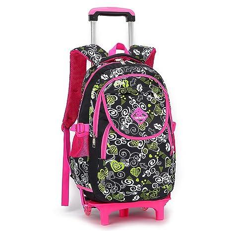 083ceead06 GudeHome Zaino Trolley borsa di scuola con ruote zaino di scuola con ruote  per viaggio ragazza