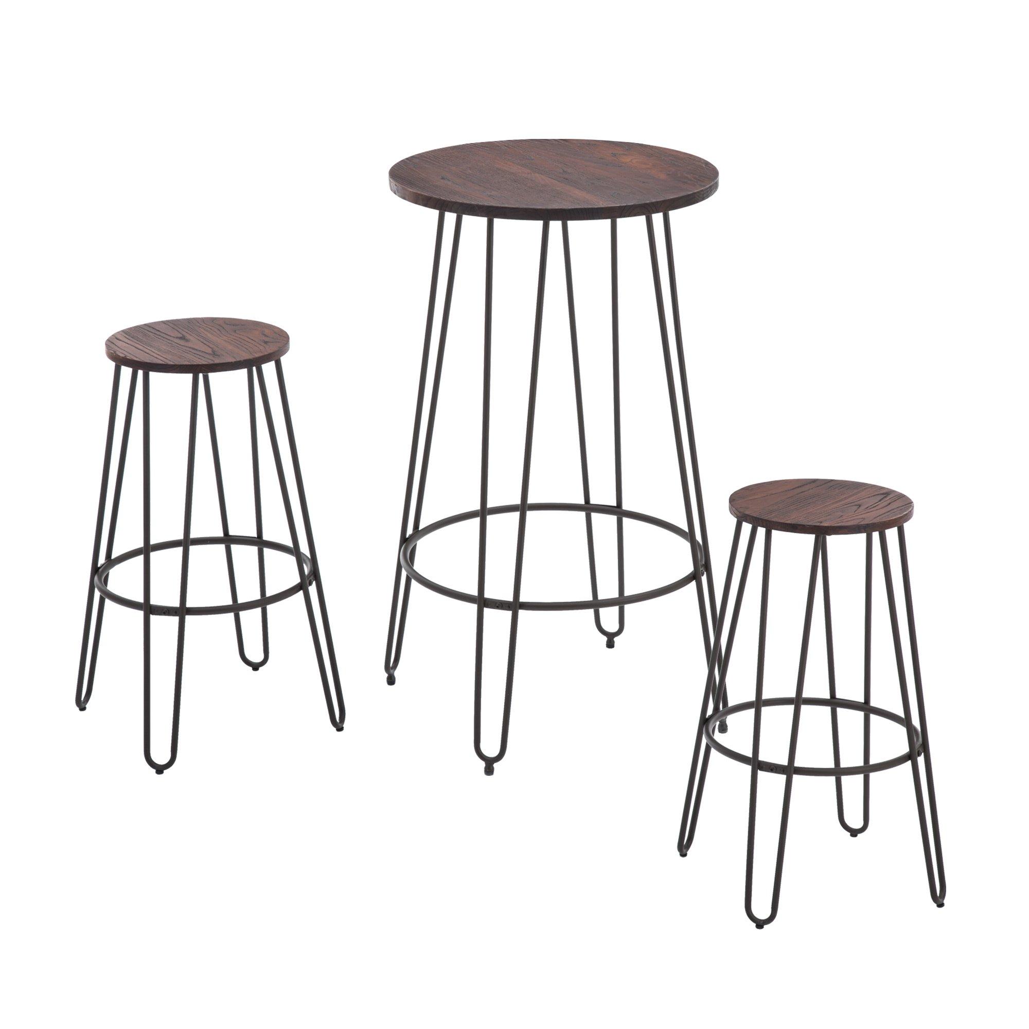 NOBPEINT 3 Piece Bar Table Set 2 Stools Bistro Pub Kitchen Dining Furniture, Rustic Brown