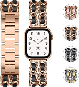 Tensea Metal Band Compatible with Apple Watch 40mm 38mm, For iWatch Series 6 SE 5 4 3 2 1 Cute Bracelet Designer Band Replacement, Cool Chain Wristband with Leather Strap Trim