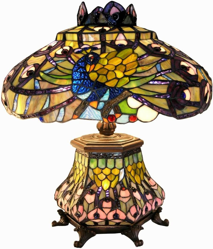 Warehouse of Tiffany 2954 LSH Tiffany-Style Peacock Lantern Table Lamp