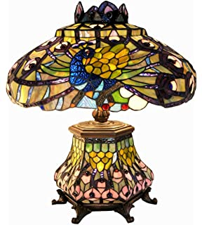 Chloe lighting ch18648t dt3 tiffany style 3 light double lit table warehouse of tiffany 2954lsh tiffany style peacock lantern table lamp orange aloadofball Images