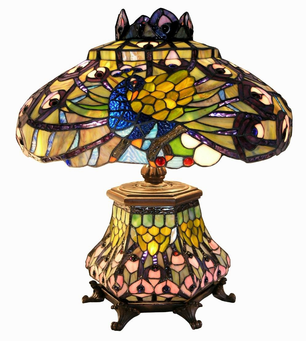 Warehouse of Tiffany 2954 LSH Tiffany-Style Peacock Lantern Table Lamp, Orange Red