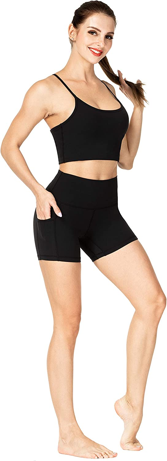 """Sunzel 8"""" / 5"""" Biker Shorts for Women with Pockets, High Waisted Yoga Workout Shorts: Clothing"""