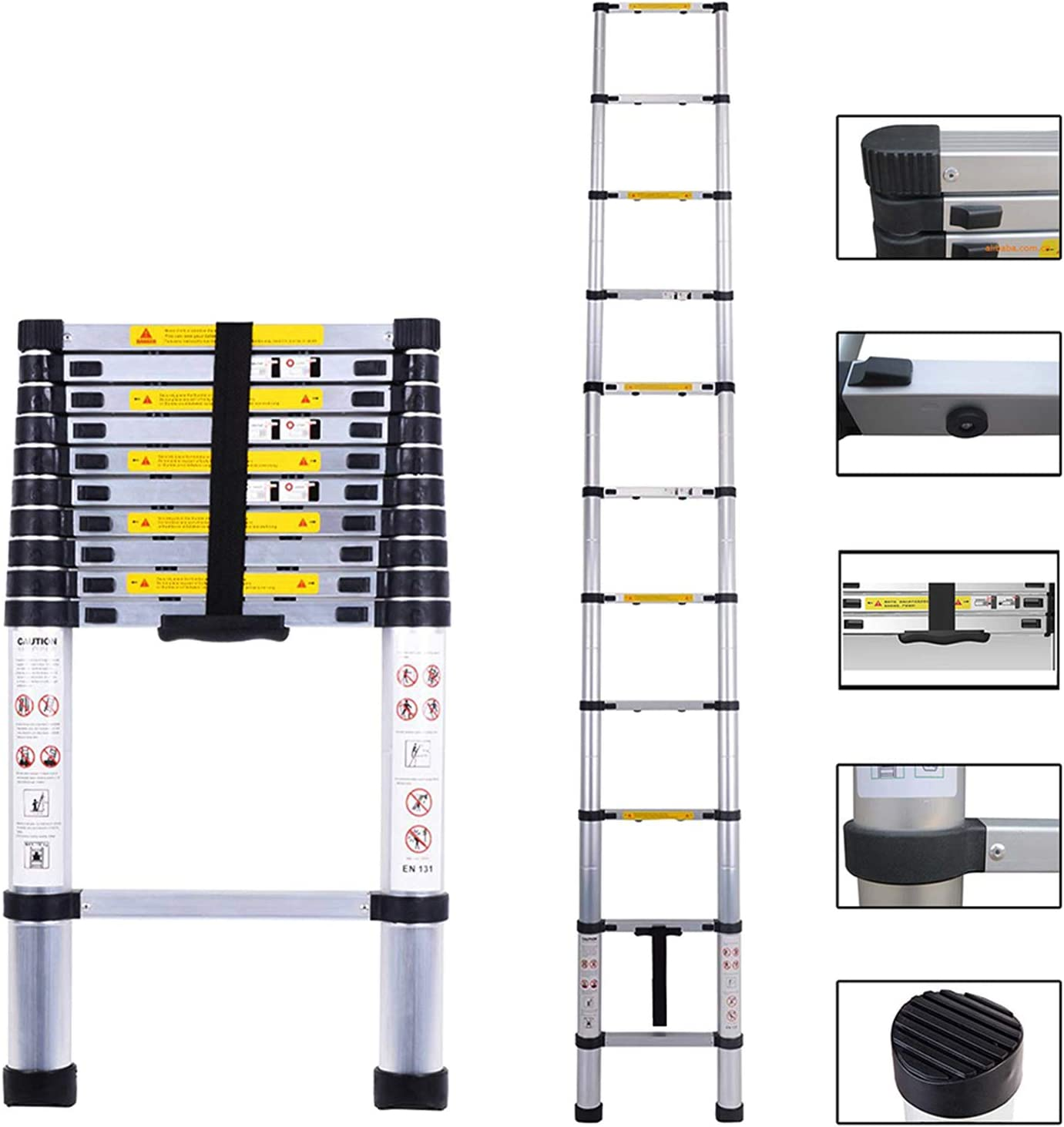 Telescoping Ladder 10.5ft/3.2m Aluminum Multi Telescopic Extension Ladder One-Button Inward Sliding Retraction with EN131 Certified - -