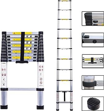 Multi-Purpose Telescopic Ladder Aluminium Foldable Ladder Extension Portable Ladder Telescoping Ladder with Spring Loaded Locking EN131 Standards 3.2M // 10.5Ft