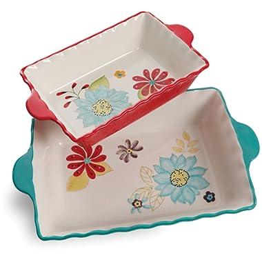 Bakeware set by Laurie Gates 2 piece set flower design multi color